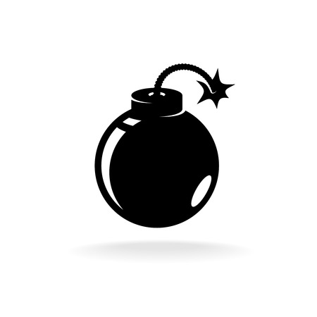 threat of violence: Round ball bomb one black color simple icon