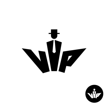 shape silhouette: Vip letters black icon. Silhouette of a gentleman in a hat, neck tie an suit. Common crown shape.