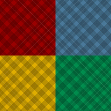 masculine: Lumberjack four color checkered diagonal square plaid seamless pattern backgrounds set Illustration