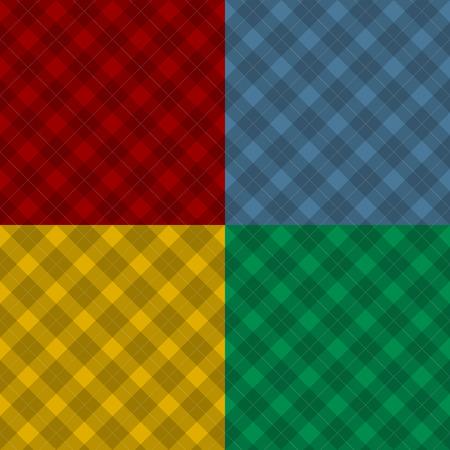 diagonal  square: Lumberjack four color checkered diagonal square plaid seamless pattern backgrounds set Illustration