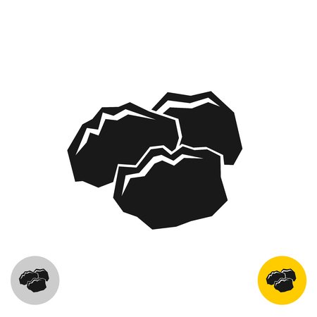 art piece: Coal black rocks icon. Three pieces of a coil together symbol. Monochrome color style.