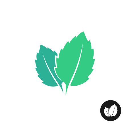 Mint leaves vector icon. Two leaves of a mint with one color black version.