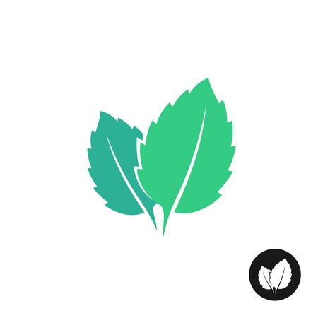 menta: Hojas de menta icono de vector. Dos hojas de menta con una versión de un solo color negro.