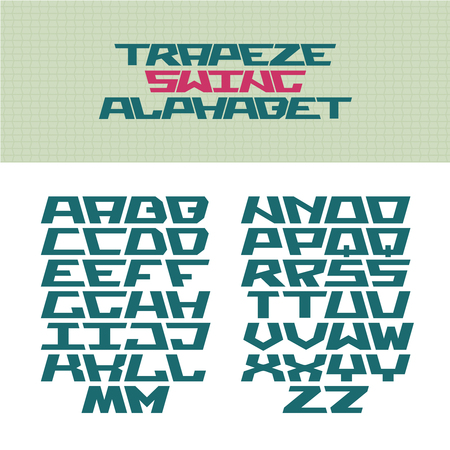 trapeze: Corner tech style font. Trapeze shaped letters with flip versions. Vector alphabet for use in a icon and titles.
