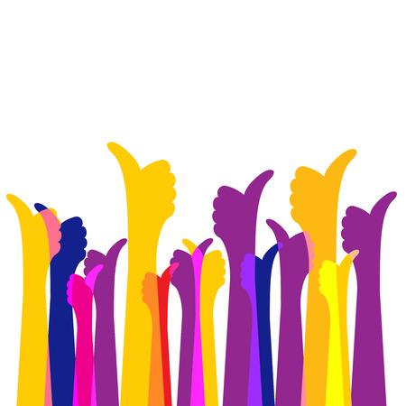 Veel houdt thumbs up kleurrijke heldere achtergrond. Hand bosillustratie.