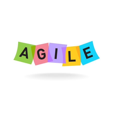 Agile word icon. Agile letters with overlay color square office stickers. Transparency are flattened.