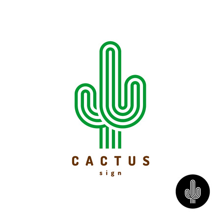 Cactus icon. Parallel rounded lines style illustration. Vektorové ilustrace