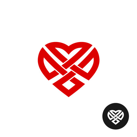 weaved: Weaved celtic style heart icon. Knot inside of a heart.