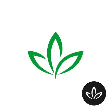 Three green leaf vector icon. Natural plant symbol.