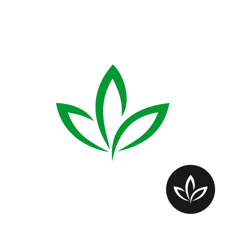 Three green leaf vector icon. Natural plant symbol.