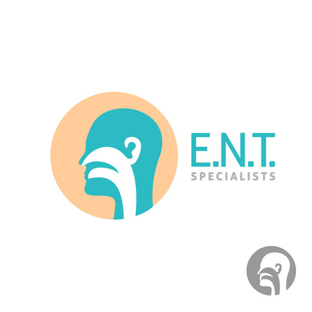 polyps: ENT icon template. Head silhouette sign for ear, nose, throat doctor specialists.