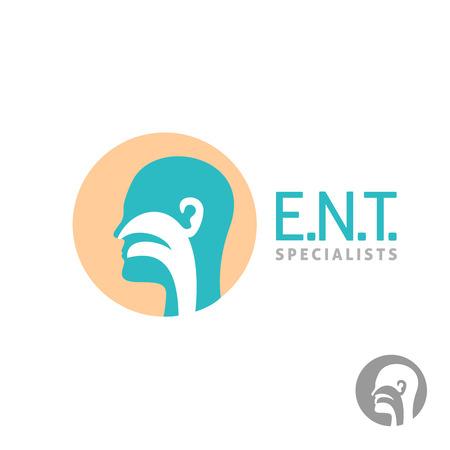 nariz: Plantilla icono de ENT. Cabeza signo de la silueta de los oídos, la nariz, la garganta especialistas médicos.