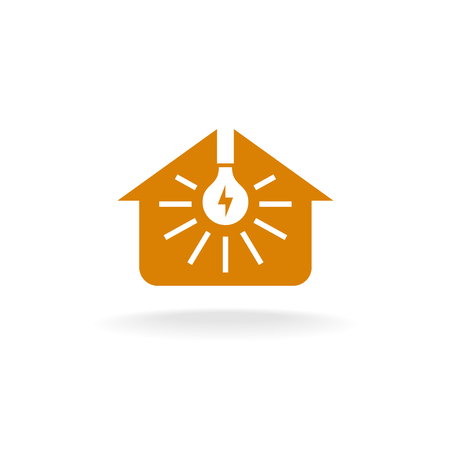 home lighting: Light bulb with rays inside of a house silhouette icon. Home lighting service concept.