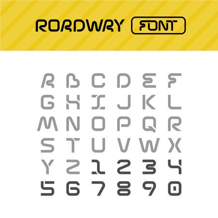 drive way: Roadway font. Drive way path style letters set.