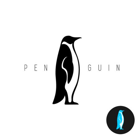 background antarctica: Penguin black silhouette vector icon. Side view of a standing penguin.