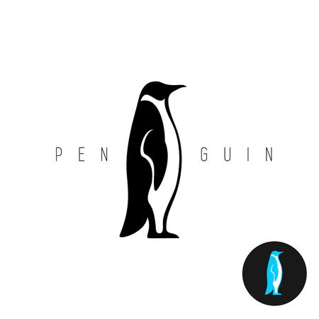 pinguino caricatura: Ping�ino negro silueta del vector del icono. Vista lateral de un ping�ino de pie.