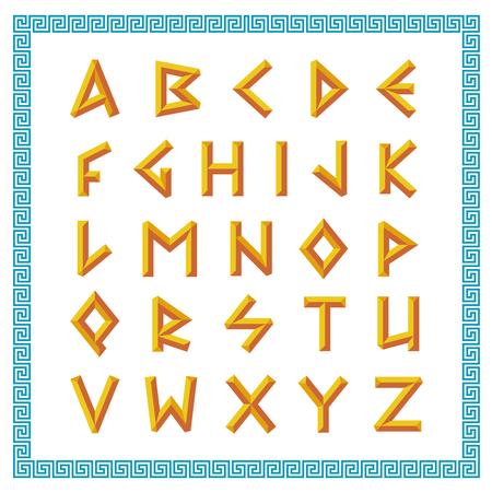 Grecki czcionki. Złote skos trzymać litery stylu. Ilustracje wektorowe
