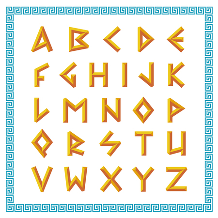 old english letters: Greek font. Golden bevel stick style letters.