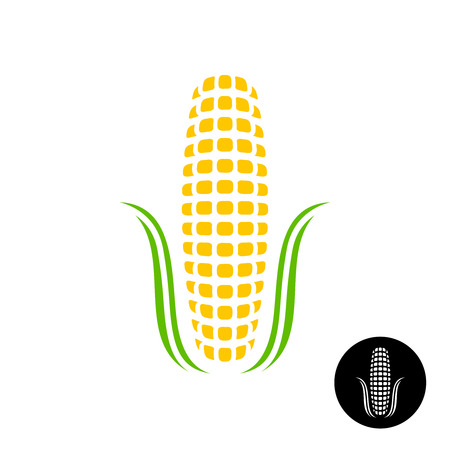 sweet corn: Corn icon. Simple corn with grains and leaves stylized. Black version included. Illustration