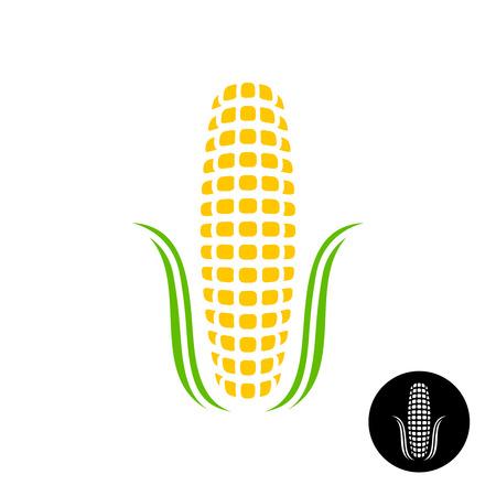 maíz: icono de ma�z. ma�z sencilla con granos y hojas estilizadas. La versi�n del negro incluido.