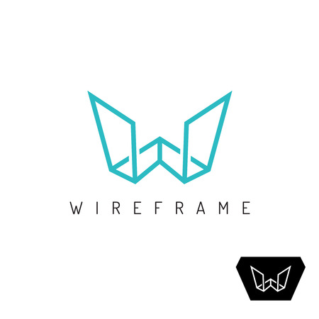 Letter W wireframe linear 3D perspective icon. Construction outline frame sign. Vetores