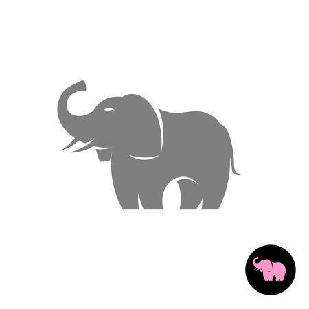 one of a kind: Elephant stylized vector icon silhouette. Small pink version on a black circle included.