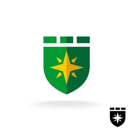 fortress: Shield icon with four rays sign. Flat design style defense symbol.