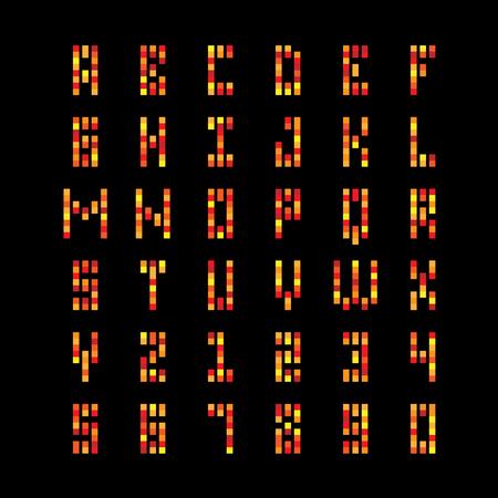 building fire: Square particles fire font. City building windows light letters.