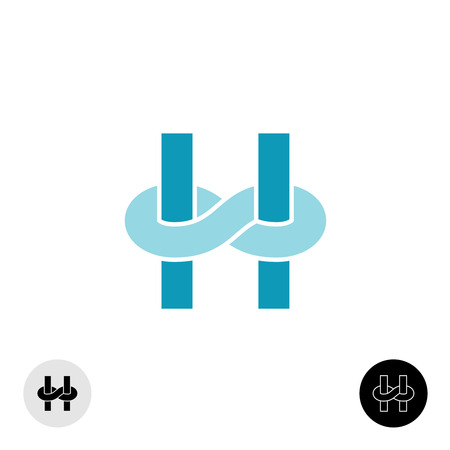 h: Letter H icon with infinity knot link Illustration
