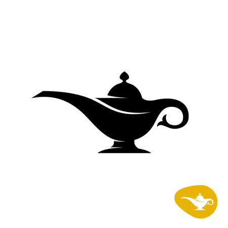 alladin: Aladin lamp silhouette. Simple black vector symbol.