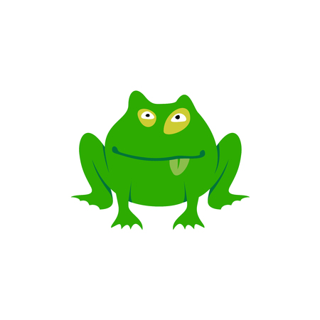 green tree frog: Green toad simple cartoon illustration. Freaky frog icon.