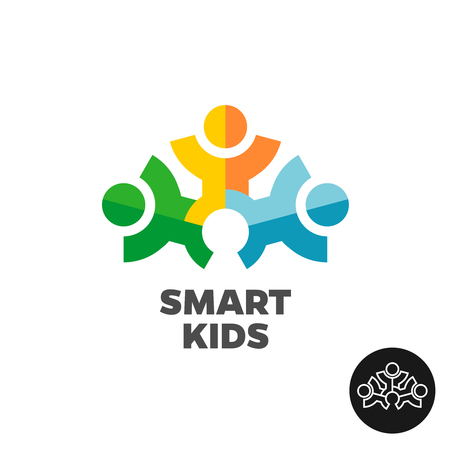 kids club: Three kids club icon concept. Stylized people silhouette sign.