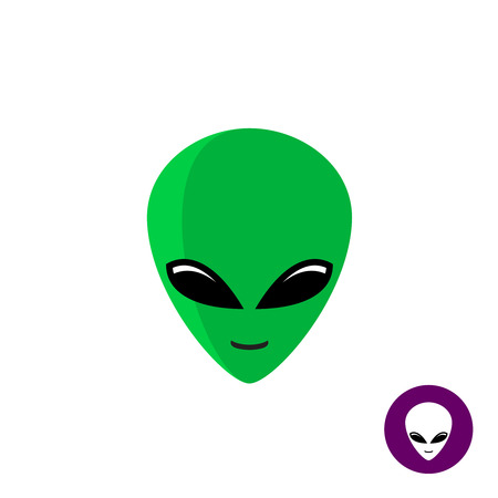 Alien face icon. Planet UFO intruder with big green head and huge deep black eyes. Flat style mask.