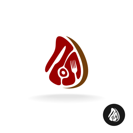 farmer market: Meat piece with fork and knife icon. Restaurant meat menu or farmer market concept symbol.