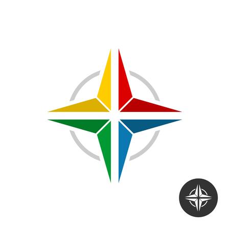 Logo geometrico colorato della stella. Segno di stile piatto piatto arcobaleno.