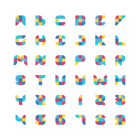 sector: Colorful geometric flat color particles font. Square and quarter circle sector shape particles. Latin alphabet with numbers. Illustration