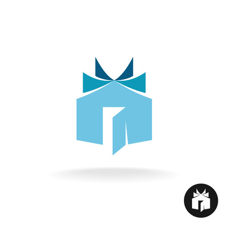 Books house idea icon template. House building with open book sheets sign.