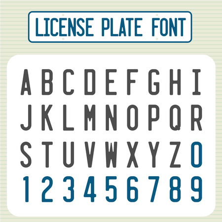 License plate font. Car identification number style letters set. Vectores