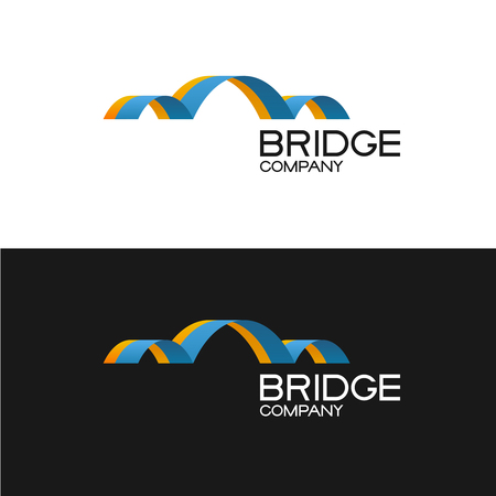 building color: Bridge building company icon template. 3D color ribbon style sign. Illustration
