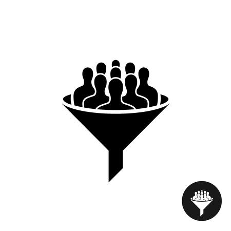 icono de crowdfunding. Multitud de la silueta de personas con el símbolo de filtro de embudo negro.