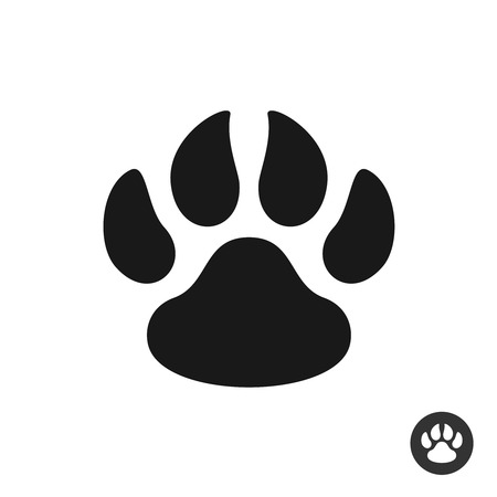 foot step: Animal paw black simple flat icon. Foot step print silhouette symbol.