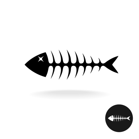 illustration of black fishbone: Fish bones simple black flat silhouette logo