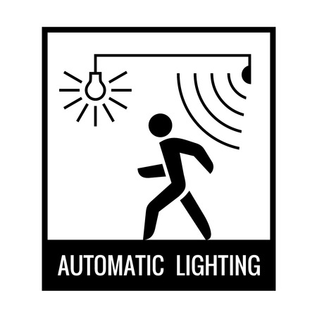 sensor: Black and white walking man with motion sensor and light bulb on.
