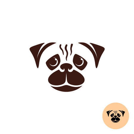 one color: Pug dog face logo. One color smooth lines style concept.