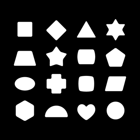 Kid toys geometric shapes silhouettes. White on a black background.