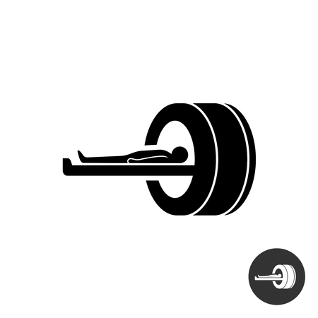 MRI icon. Simple black silhouette symbol of medical MRI procedure.
