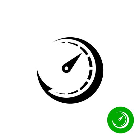 speed test: Timer black icon. Scale indicator fast growth. Speed logo.