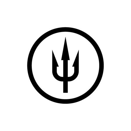 tridente signo simple. Símbolo negro en un borde del círculo.