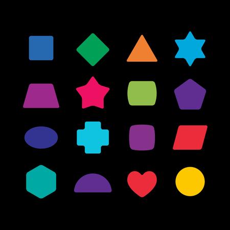 coins arrondis colorés géométriques fixés pour les jouets d'apprentissage.