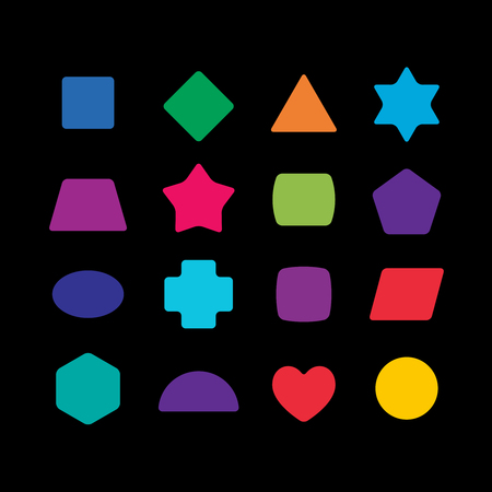 shapes cartoon: Geometric colorful rounded corners shapes set for learning toys. Illustration